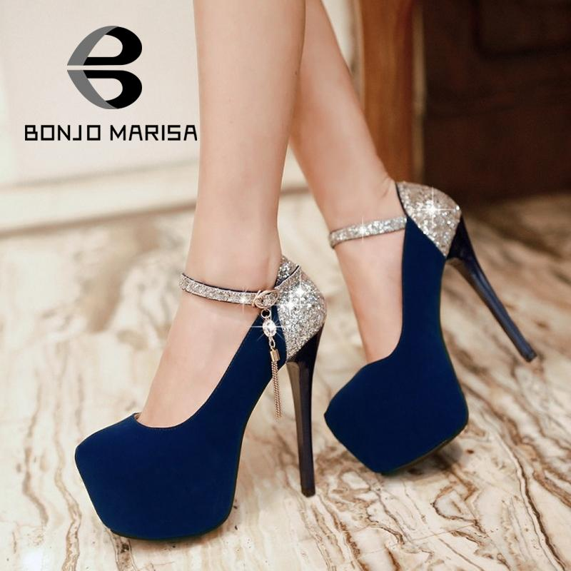 Big size 34-42 Shimmery Belt Mary Jane Style Metallic Chains Party Wedding Shoes Round Toe High Heels Platform Women Pumps