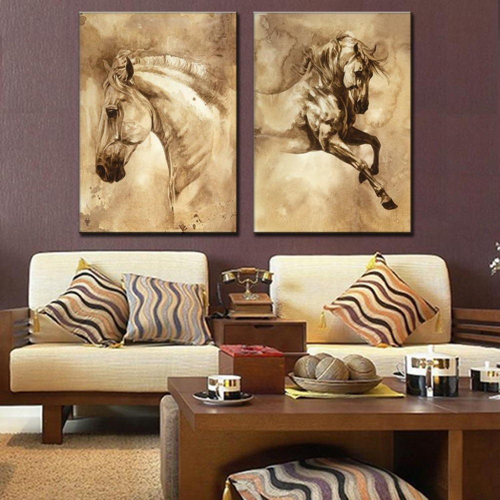 2 Pcs/Set Modern European Oil Painting Horse On Canvas Wall Art Picture Wall Pictures for Living Room Modern Wall Painting(China (Mainland))