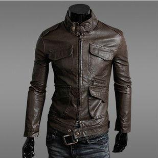 Freeshipping,Hot Sale,2015 Men's Fashion Motorcycle Leather Jacket,Man's Genuine ,Vintage Brand Slim Leather Coat.Goodquality