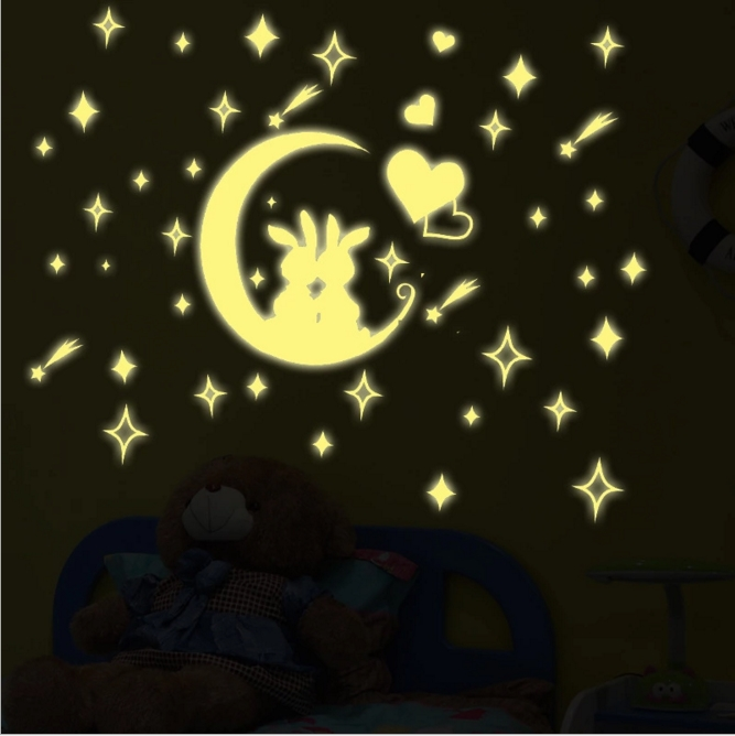 new arrival creatice lovely star moon rabbit luminous fluorescent pvc wall sticker home decor mural decal for baby kids room