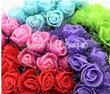 FREE Shipping MIXED COLOR / 144PCS/LOT PE foam artificial rose flower with Organza(China (Mainland))
