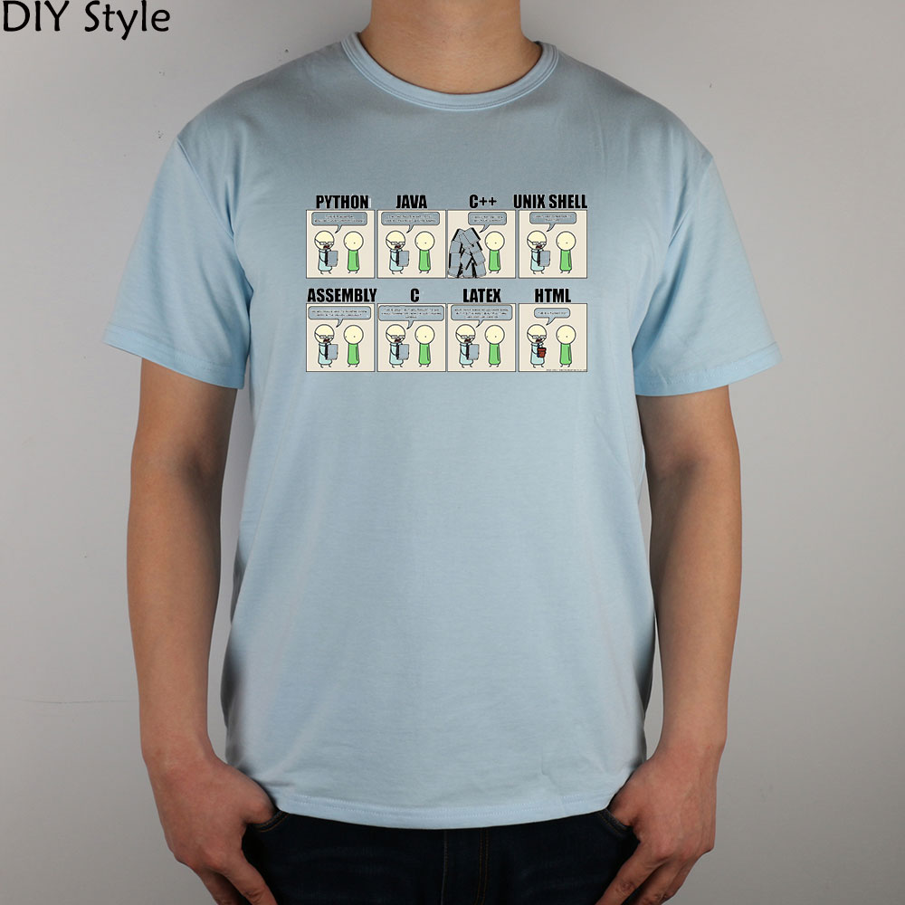 PYHTON JAVA C ETC programmers to develop language humor IT T-shirt men short sleeve(China (Mainland))