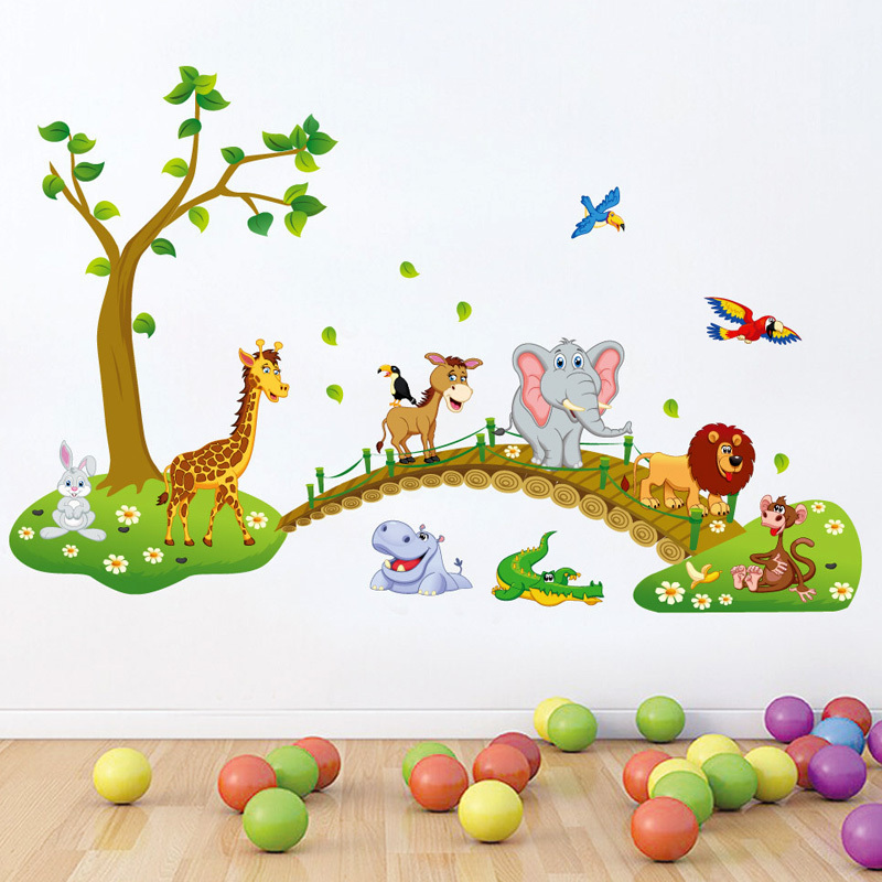 Bosque animal de la historieta kindergarten pegatinas de for Decoracion hogar aliexpress
