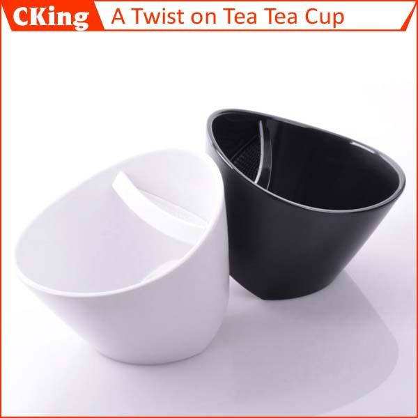 Teacup A Twist on Tea tea cup White Black tilt tea cup Free shipping