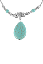 1PC Ethnic Bright Silver Tone Chain Oval Rimous Turquoise Pendant Necklace Bohemian Style
