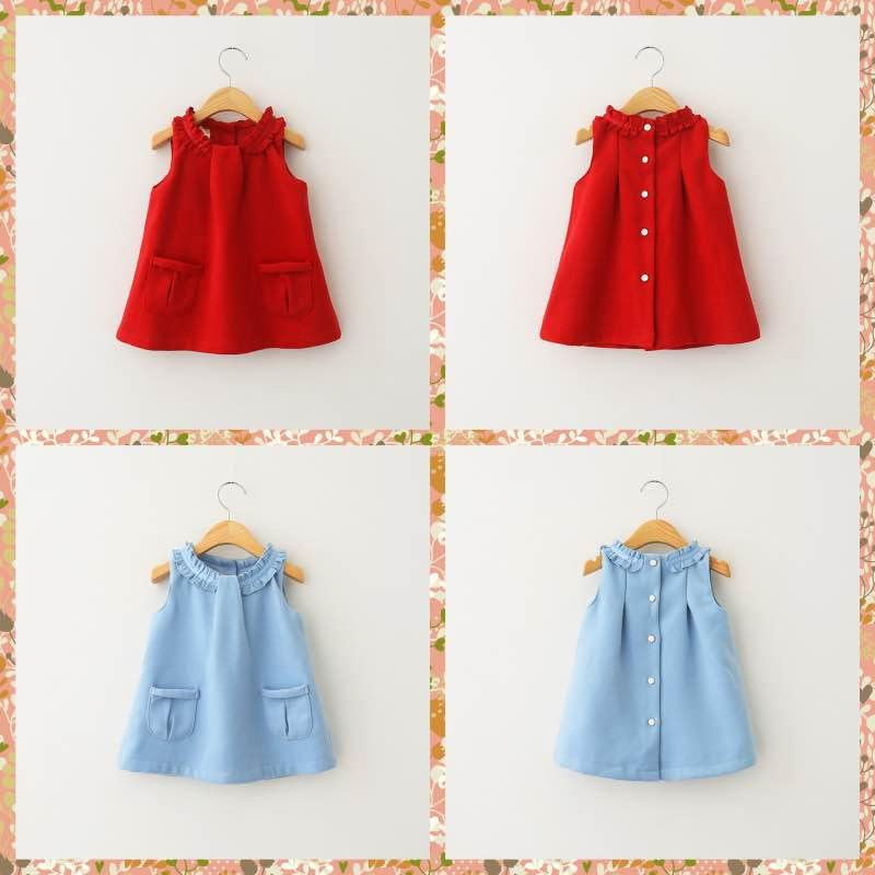 2015 New Kid Girls Wool Blend Ruffles Party Dresses Sweet Kid Girl Fashion Frilled Neckline Sleeveless Pocket Fall Winter Pocket(China (Mainland))