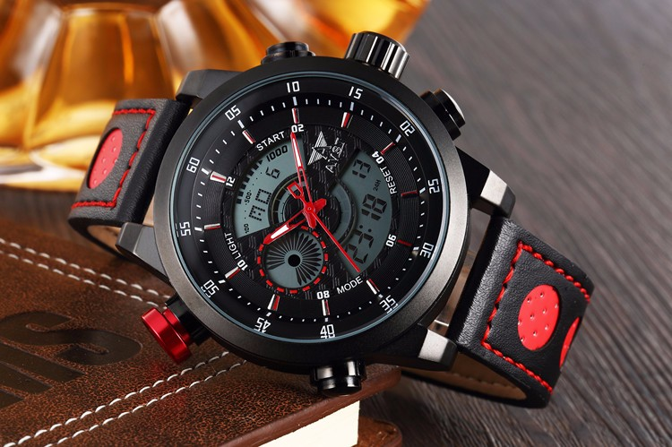 AMST Новый Мужчины Мода Наручные Часы Класса Люкс ПУ Кожаный Ремешок Часы Спорт Военная Кварц Цифровые Часы Relogio Masculino 2016
