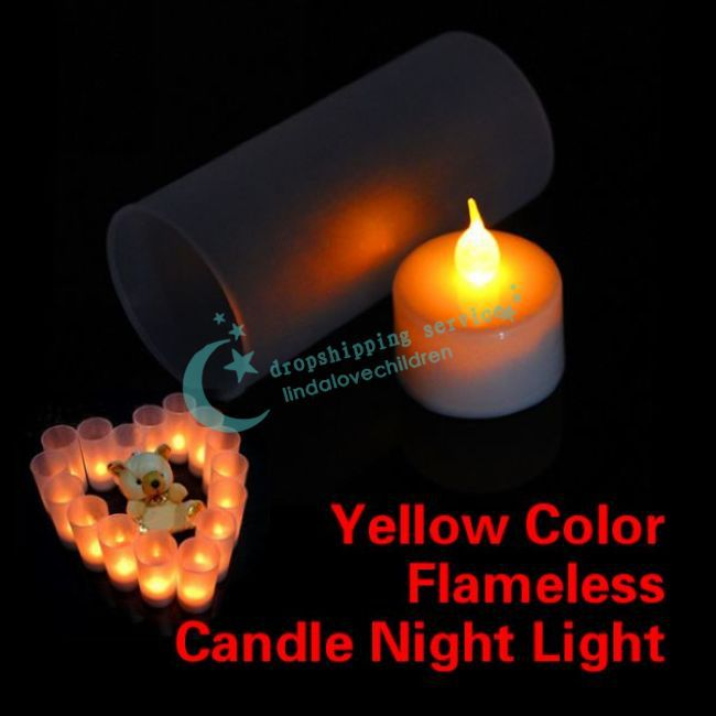 Switch Control LED Electronic Yellow Color Flameless Candle Night Light With Cup Drop shipping/Free Shipping(China (Mainland))