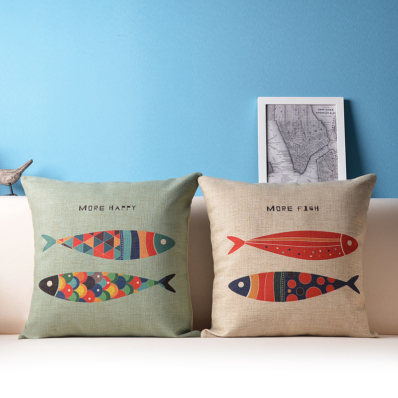 Throw Pillow Set For Couch : Decorative fish throw pillow cushion cover set nautical couch pillows pillowcases-in Cushion ...
