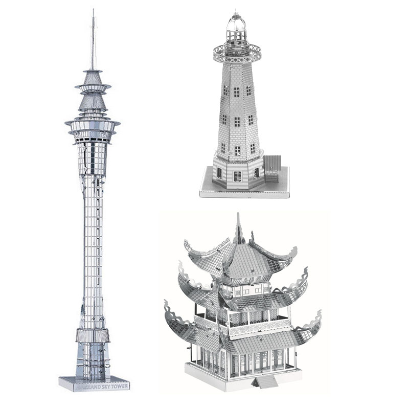 World's Building Jigsaw Model 3D Metal Puzzle Auckland Sky Tower Pharos Yueyang Tower DIY scale Model Building Architecture Toys(China (Mainland))