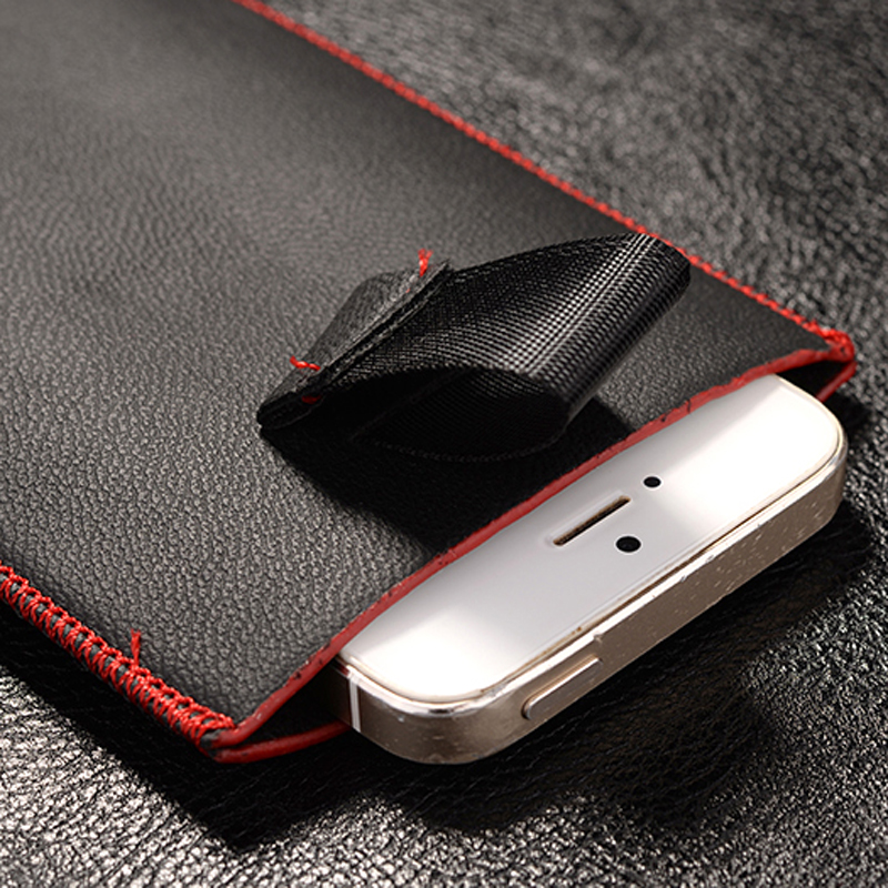 New Red border Top grade Universal Holster skin Waist Leather Pouch Cover Case For meizu m3 note(China (Mainland))
