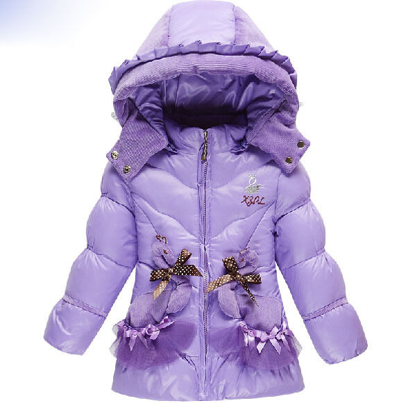 2014 Quality Goods Winter Children Down Jacket Girls Cartoon Lovely Slim Long Coat Fleece Fur Collar Coat Keep Warm Down Coat(China (Mainland))