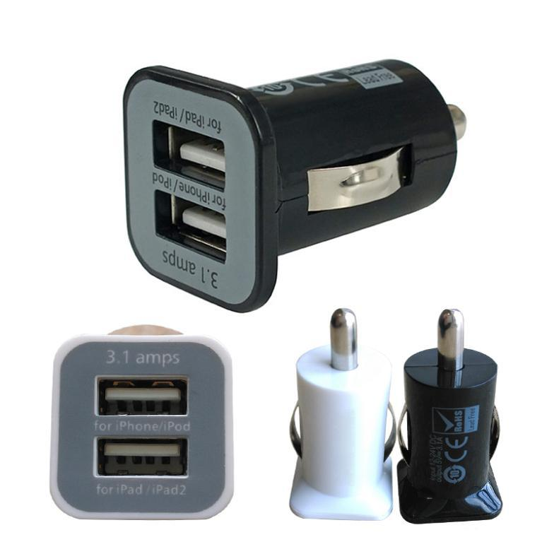 Micro Auto Universal Dual 2 Port USB Car Charger For iPhone iPad iPod 3.1A Mini Car Charger Adapter / Cigar Socket Black YL00031(China (Mainland))