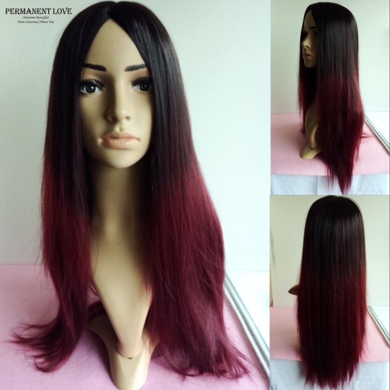 Long straight Ombre wigs two tone wigs black burgundy cheap synthetic hair cosplay wigs african american wig for black women