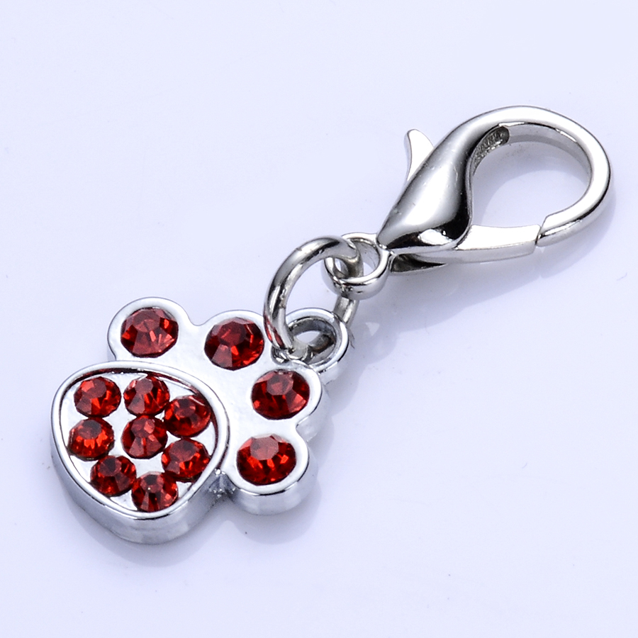 Red White Rhinestone Dog Tag Crystal Paw Shaped Charms For Dog Collars Pet Jewelry Pendant Dog Accessories Pet Products(China (Mainland))