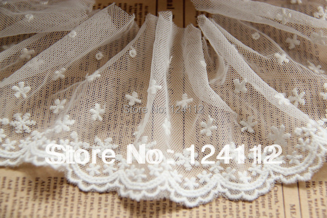 3.5'' Wide LT005 Free Shipping High Quality DIY Cotton Small Flowers Patterns Mesh Embroidery Lace Trim By The Yard