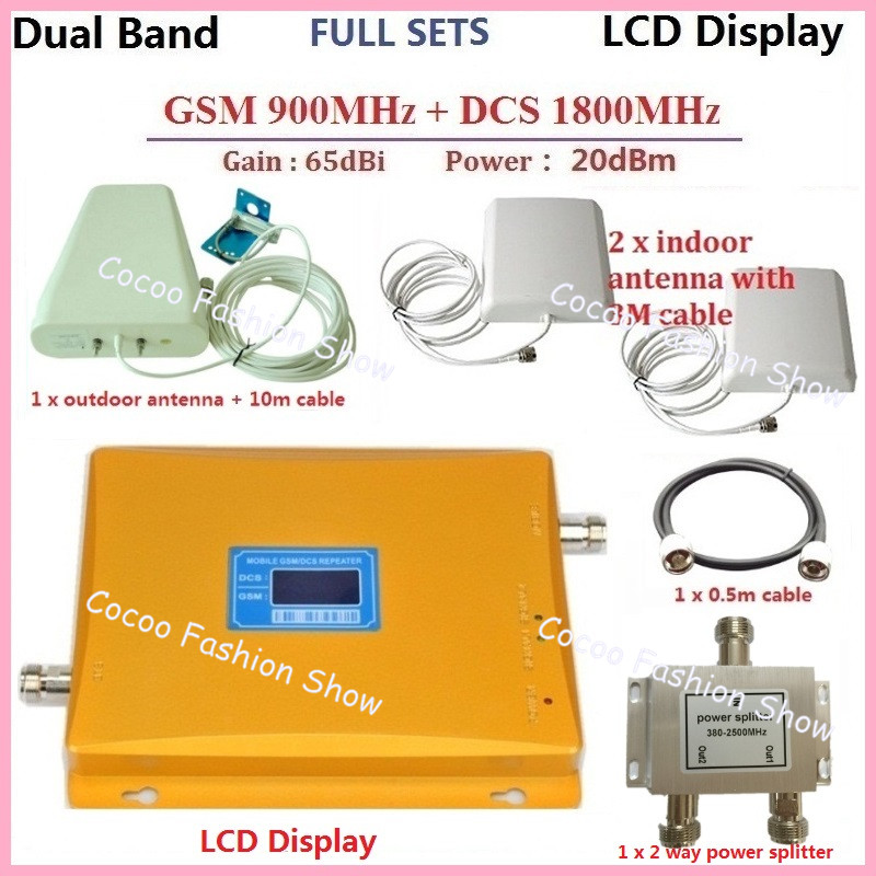 LCD Display !GSM Repeater 1800 + 900MHZ Dual Band Cell Phone Signal Booster Repeater Amplifier + outdoor indoor antenna + cable(China (Mainland))