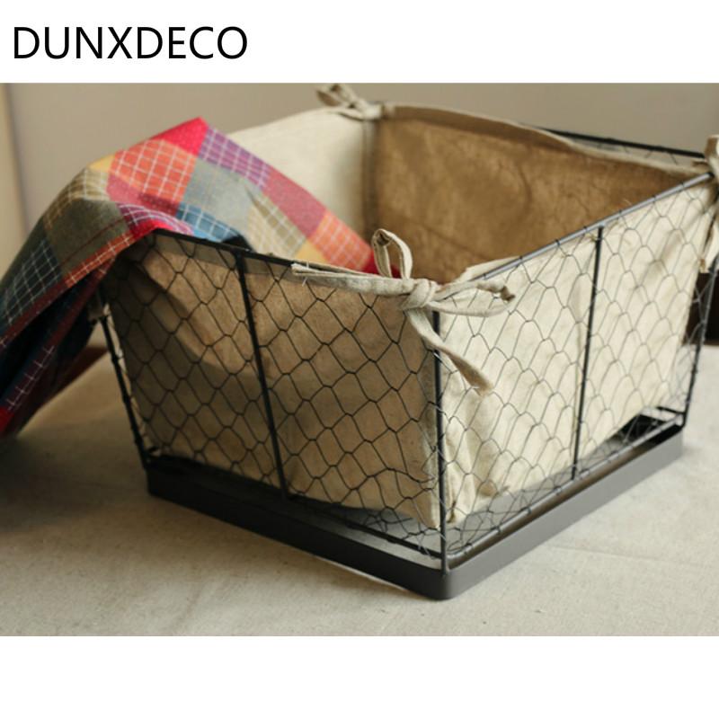 DUNXDECO Loft Big Iron Basket With Linen Fabric Retro Cloth Magazine Storage Basket Multifunction Storage Store Decoration(China (Mainland))