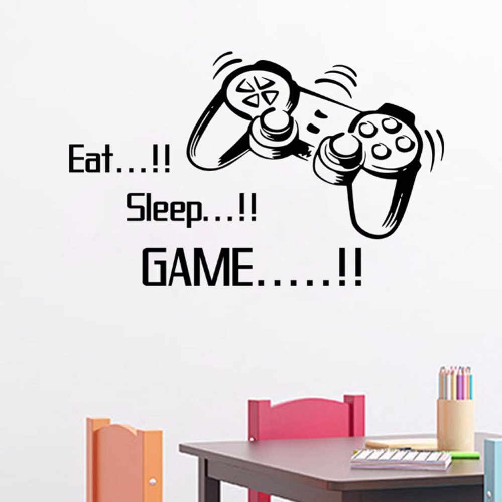 creative Eat Sleep Game vinyl wall art stickers gamer xbox 3 Boys Bedroom Letter Quotes Home Decoration Wall Mural A2(China (Mainland))