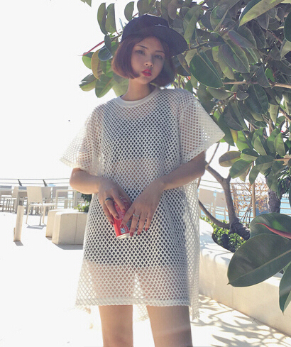 2015 Summer Harajuku style womens sexy loose casual hollow out short sleeve t-shirt female fishing nets grid long sport tops tee(China (Mainland))