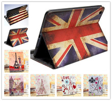 For new ipad 5 Pink Girl Retro Paris Eiffel Tower US UK Flags Leather Smart Holder Cover For apple Ipad Air Retina Stand Case(China (Mainland))