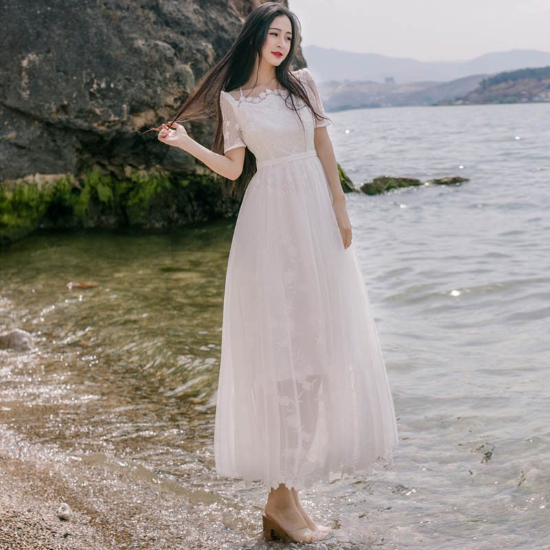 Summer Maxi Dress 2016 Boho White Literature and art Embroidered Long Dress Womens Sexy Dresses Party Night Club Dress(China (Mainland))
