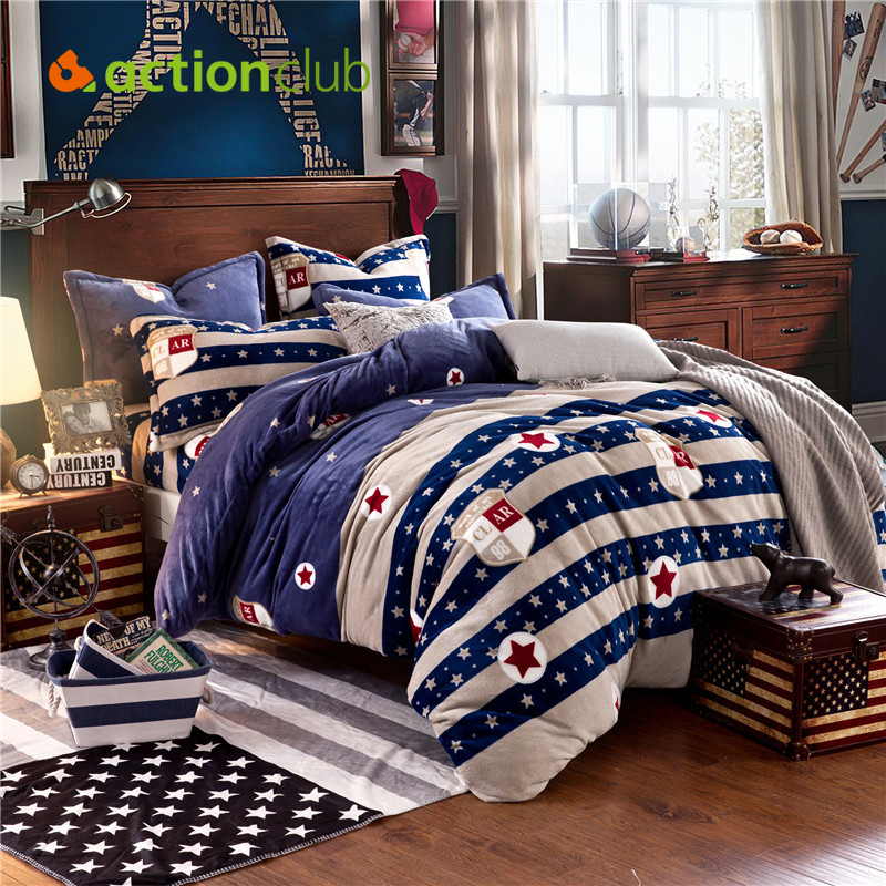 High Quality Flannel Bedding Sets New 2016 Brief Style Stripe Bedding Sets Cartoon Pattern Best Quality Home Bedding HBS069(China (Mainland))