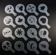 Creative Cappuccino Coffee Barista Stencils Coffee accessories Tools 16pcs/set(China (Mainland))