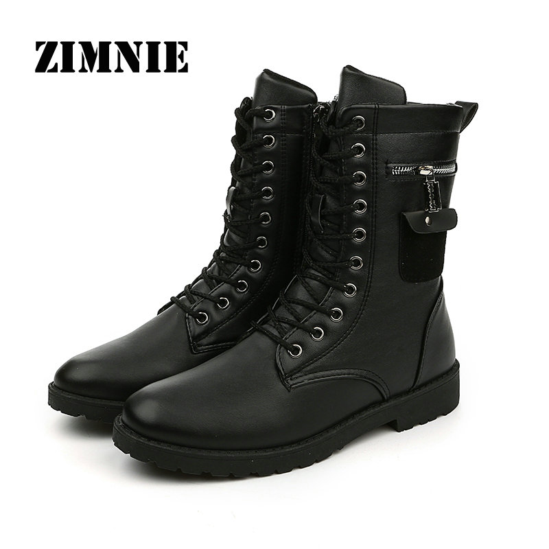 New 2016 Autumn Winter Mens Boots Casual Black pu Leather Boots For Men Shoes Fashion Cool Street Style Boots Men Winter Shoes(China (Mainland))