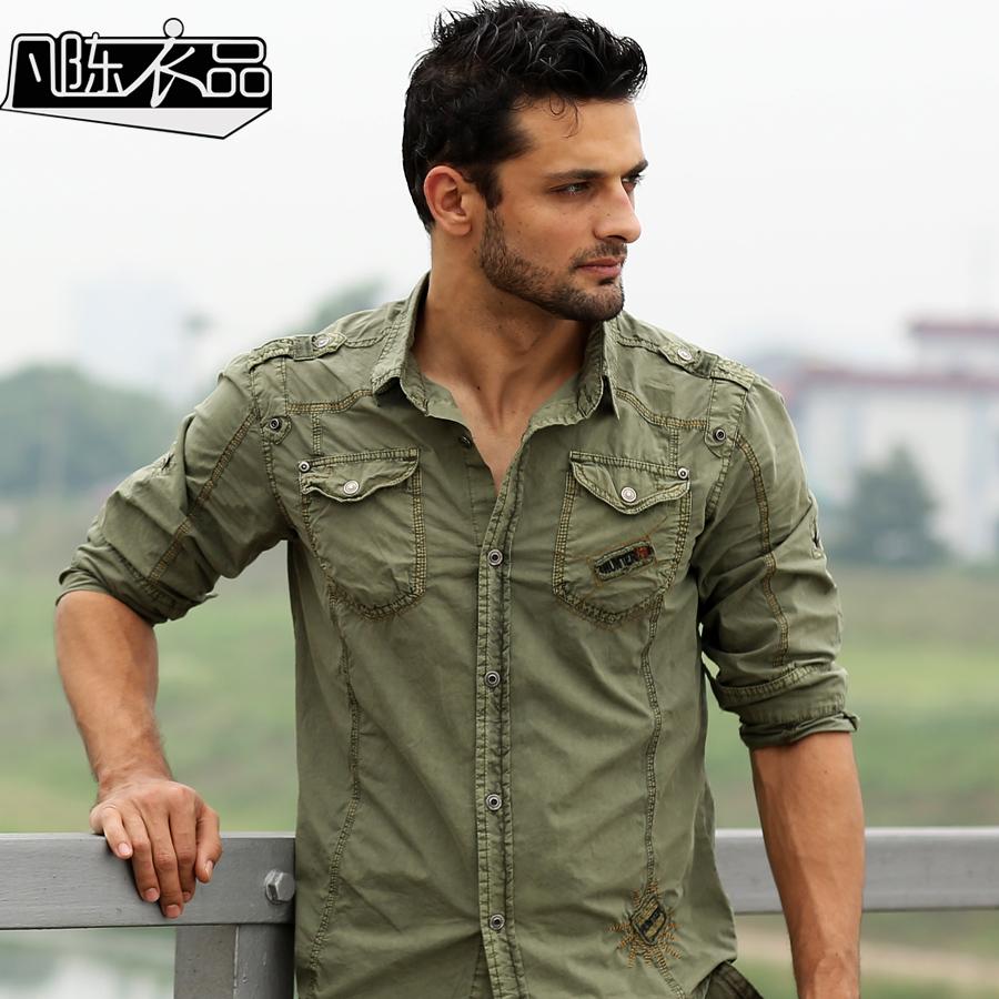 Hijau army kemeja beli murah hijau army kemeja lots from for Mens military style long sleeve shirts