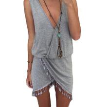 2015 Women Summer Style Dresses Knit Casual Sleeveless Desigual Tassel Beach Bodycon Plus Size Clothing Sexy Mini Vestidos P9502