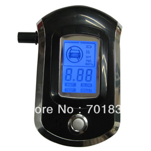 Prefessional Blue Backlight Police Digital Alcohol Tester Breath Alcohol Tester with 5pcs mouthpiece Breathalyzer(China (Mainland))