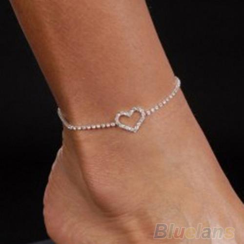 Sexy Lady Heart Rhinestone Anklet Foot Wedding Jewelry Ankle Bracelet 01VC