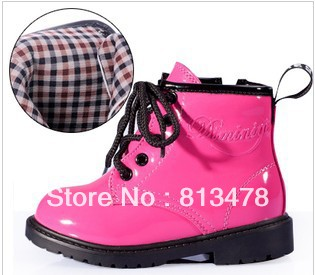 ! bright japanned leather martin boots, Boys Girls breathable high boots /children shoes/kids fashion - wendy hou's store