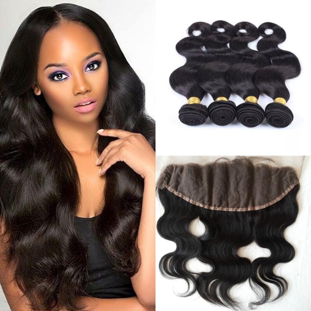 Здесь продается  7A Grade Brazilian Virgin Hair Body Wave 4 Hair Bundles With Lace Frontal closure Cheap Human Hair Weave With Closure  Волосы и аксессуары