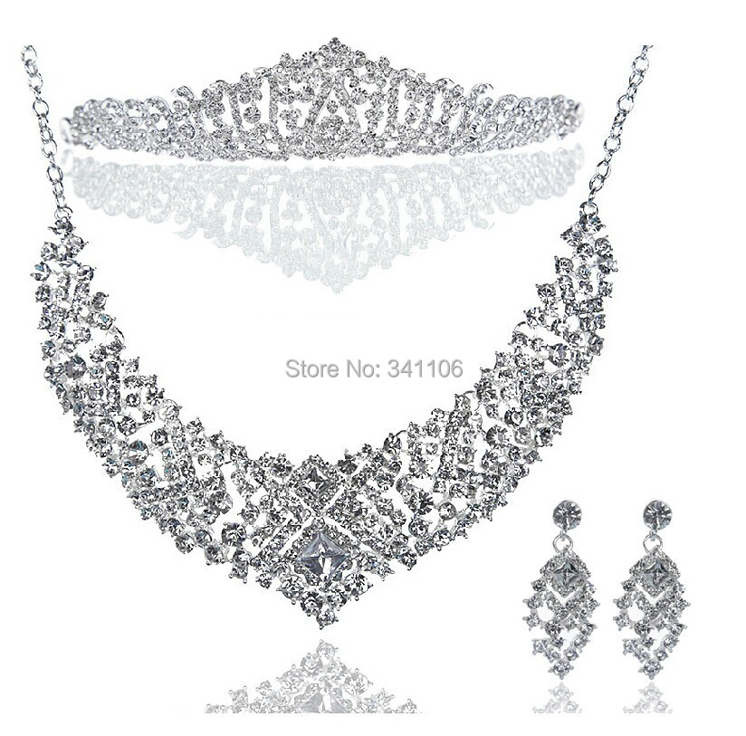 Top Quality Crystal Necklace Earrings Tiara  Bridal Jewelry Sets Imitation Gemstone Jewelry Wedding Accessories <br><br>Aliexpress