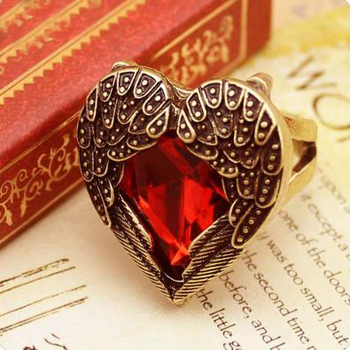 Min.order is $12(mix order)Fashion Rubine Finger Ring Antique Heart  Angel Wing Rings Heart Shaped Promise Ring AR120
