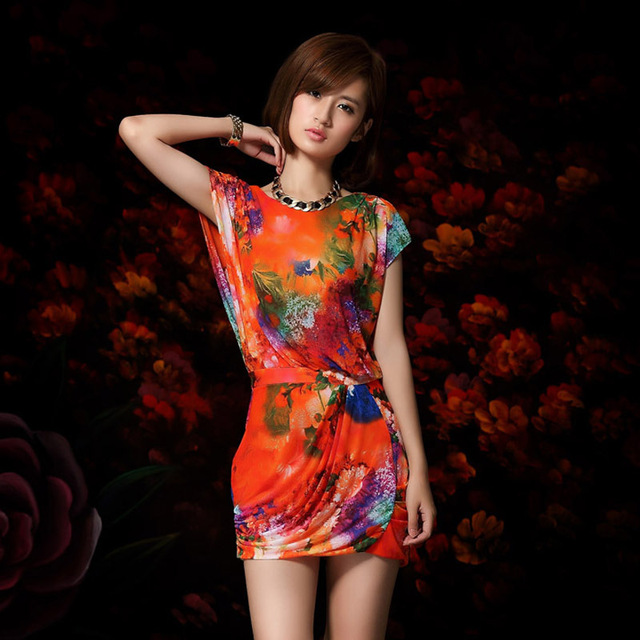 Free shipping 2013 summer new arrival fashion print slim hot women's casual dress 2118