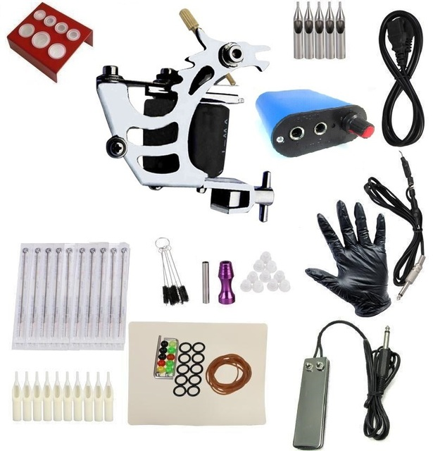 Free Shipping New & Pro Tattoo Machine Equipment Set Starter Kit 1 Guns Supply Body Art