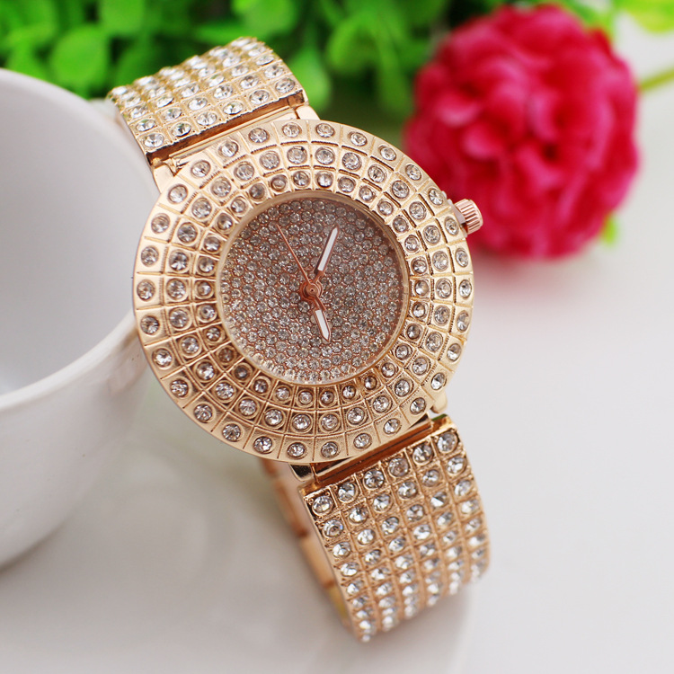 2016 Fashion & Casual Round Quartz Metal New Arrival Direct Selling Women Hardlex Market Diamond Bracelet Watch Ladies(China (Mainland))