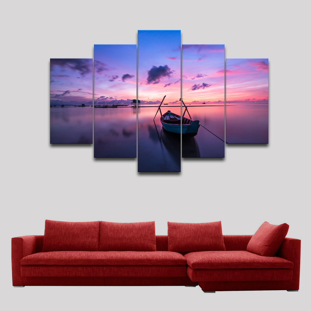 Unframed Sunrise dawn picture print canvas Modern wall art Seascape fish boat photo painting home decorative poster 5 pcs RA0280(China (Mainland))