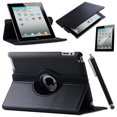 Case Cover For Apple iPad Air 2/iPad 6 (2014) PU Leather Flip Smart Stand 360 Rotating Case Screen Protector Film Stylus Pen(China (Mainland))