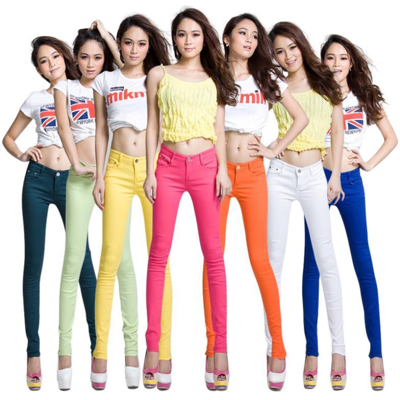 Super Deal 2015 Fashion Women Candy Colors Pencil Pants Spring Autumn Sexy Fit Jeans Plus Size
