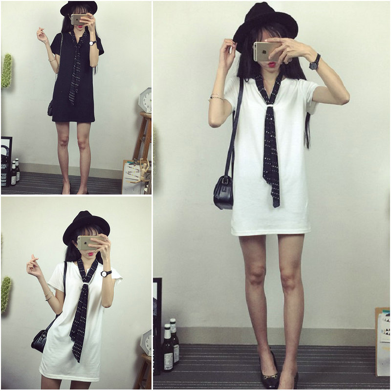 521 # 2016 new women's wear loose wave scarf tie dress with short sleeves female(China (Mainland))
