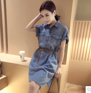 2016 New Women dress Single Breasted Turn-down Collar High Waist Slim Short Sleeve Cowboy Dresses Image Colorlt 8303(China (Mainland))