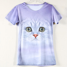 New Fashion Clothing Lovely Cat Girls T Shirt Design Funny 3D Dog t-shirts Discounts Short Sleeve Casual Round Neck Tee Shirt(China (Mainland))
