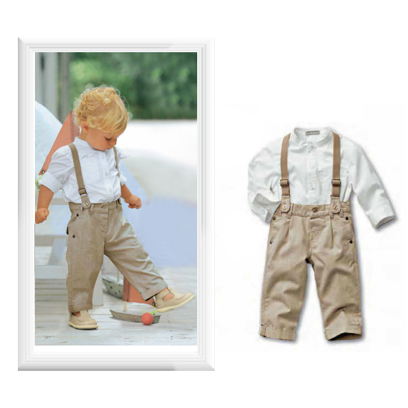 Retail new 2014  hotsale baby boys clothing set(white shirt+suspender+khaki pants)baby suits free shipping,with actual photos