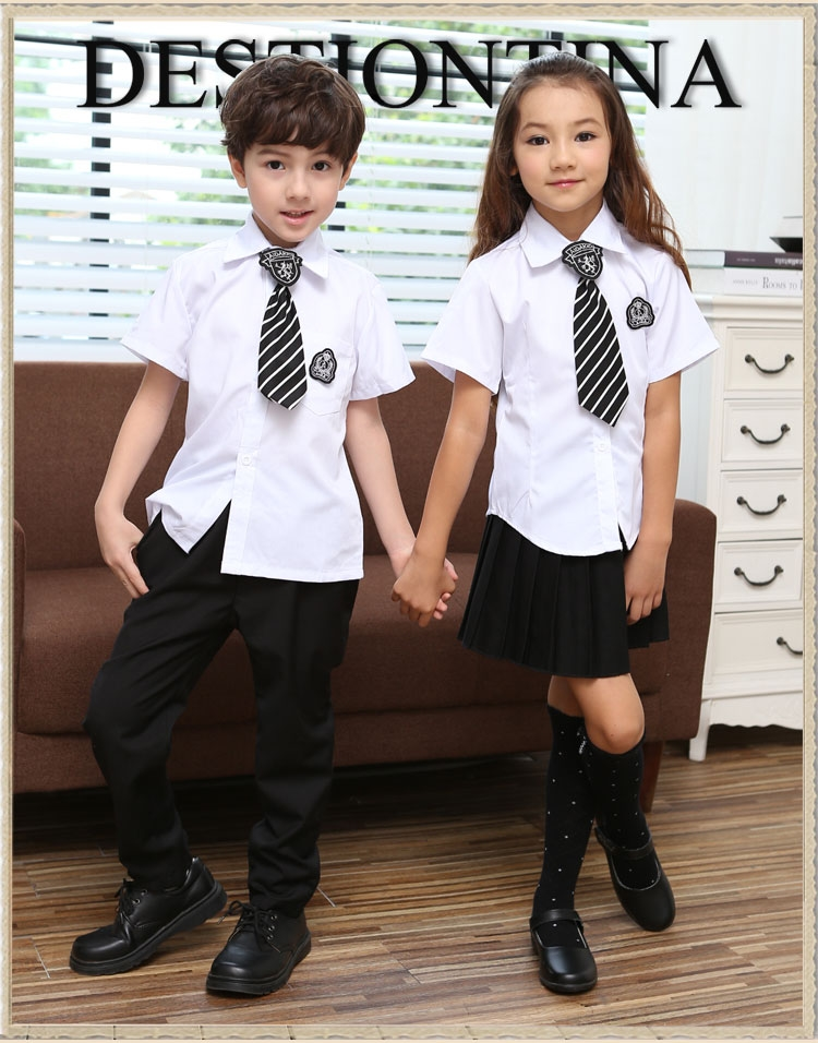 school uniform for boys and girls Contain long-sleeved and short-sleeved shirts and pants skirts Height 100-150CM 50(China (Mainland))