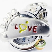 Foot Shape Key Ring Pendant Pocket Watch +Gift&Free Shipping