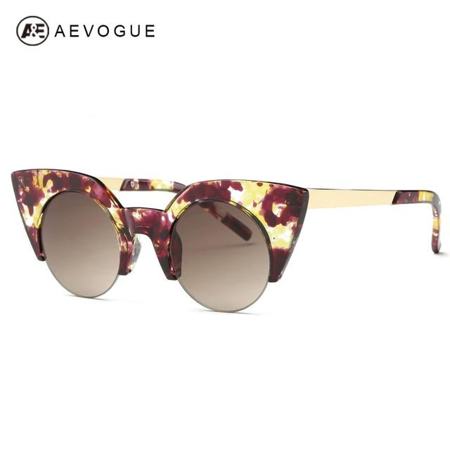 Aevogue очки женщин модной ацетат кошачий глаз круглая рамка солнцезащитные очки металлические храм классических с коробкой UV400 AE0372